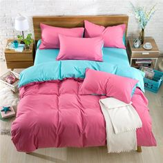 15Colour Reactive Printing Bedding Set Super Soft Cotton Duvet Cover Flat Sheet Pillowcase Comforter Bed Set 4Pcs