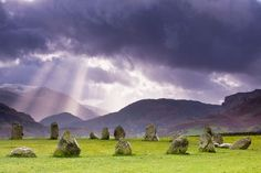 The stone circle at Castlerigg (alt. Keswick Carles, Carles, Carsles or Castle-rig) is situated near Keswick in Cumbria, North West England. One of around 1,300 stone circles in the British Isles and Brittany, it was constructed as a part of a megalithic tradition that lasted from 3,300 to 900 BCE, during the Late Neolithic and Early Bronze Ages.
