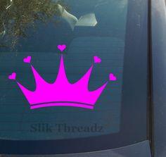 Princess Crown with Hearts Vinyl Decal Sticker   eBay $3.49 www.vinyldecaldepot.com