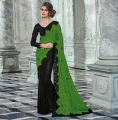 Green & Black Color Half Georgette & Half Jacquard Crepe Function & Party Wear Sarees : Rukmani Collection YF-32900