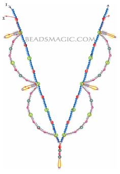 Free pattern for necklace Tori - 2----------------------------- U need: seed beads 11/0 pearl beads 4 mm pearl beads 6 mm bicone beads 4 mm bicone beads 6mm faceted drops