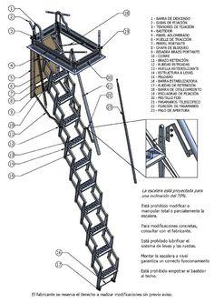 Escaleras plegables de altillo en chapa de acero y madera - Escaleras plegables techo ...
