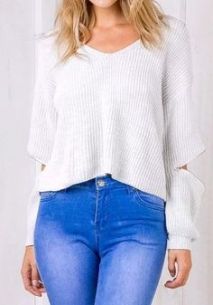 White Plain Zipper V-neck Fashion Polyester Pullover Sweater