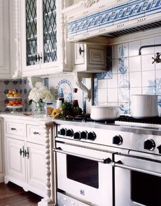 This is called and Romantic Old-World Kitchen in Blue and White inspired by blue and white porcelain and French patisseries.