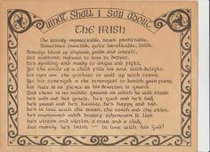 What Shall I Say About the Irish