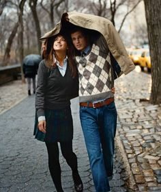 Take a walk. With a handsome man in an argyle sweater. Outside. In the rain.