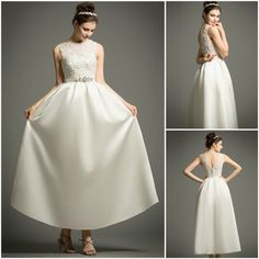 Classic Vintage Tea-length Satin Wedding Dress With Lace. Perfect for Older Bride, Plus Size Bride. Custom made-to-order Wedding dress by GemGrace. Multiple colors and all sizes available. Additional photos also available upon request.