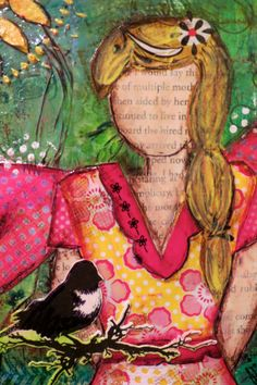 8x10 Angel With Bird Mixed Media giclee print on by 3Heartwings,