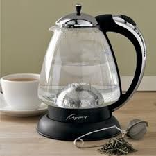 Capresso glass electric kettle. Fun to watch, easy to clean (boil water and white vinegar now and then), quick w/ auto shut off. A must have and I do!