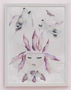 Fine art print One Sonny Day. Australian kids and children's art. Soft pink feather crown, lilac feather headdress, delicate antique lace embossing, pink purple butterflies, feather art, butterfly art, wolf, wolves, wolf art, spirit animal, spirit animal art. Perfect for wall art, little girls bedroom deco, children kids gifts, christening, baby shower, christmas present. Watercolour, painting, quote