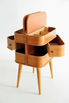 Amazing Snaps: 60s Danish modern side table / sewing storage