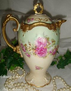 Sale: Beautiful Antique Limoges Chocolate Pot with Pink Roses
