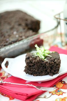 Lightened Chocolate Zucchini Cake - So moist and rich with loads of chocolate, Low Calorie Low Fat Healthier Dessert Recipe