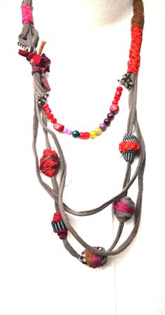Unique Colorful Necklace Ethnic Necklace African by ornadesign