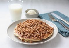 Cinnamon Streusel Pancakes.  Just made these and they are amazing! Fluffy, great taste and texture, good with or without syrup.  Can't beat a homemade pancake batter!