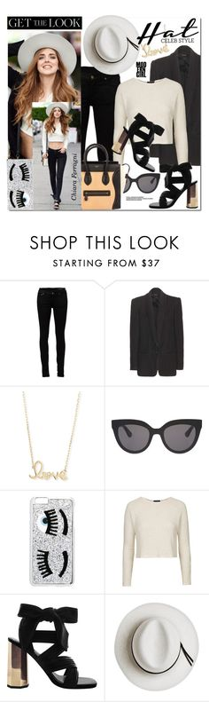 """""""Get the Look : Hat Edition"""" by monica-dick ❤ liked on Polyvore featuring Yves Saint Laurent, Isabel Marant, Sydney Evan, Chiara Ferragni, Christian Dior, Topshop, Calypso Private Label, CÉLINE, GetTheLook and hats"""