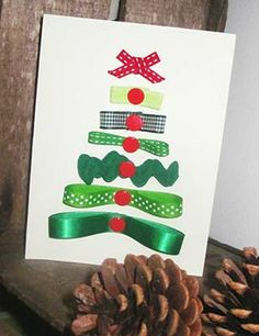 Carte Sapin de Noël Rubans