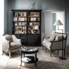 Black Solid Pine Bookcase with Ladder | Maisons du Monde