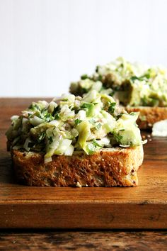 avocado and smoked trout salad toasts