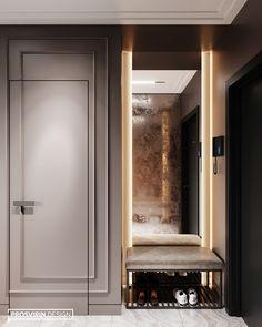 Apartment for a bachelor. on Behance Corridor Design, Foyer Design, Entrance Design, House Entrance, Home Room Design, Home Interior Design, House Design, Lobby Interior, Apartment Interior