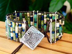 MELANGE Wide Leather Cuff Bracelet Russian by BraceletsofBlueRidge