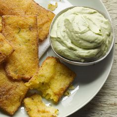 Polenta crisps with avocado and yoghurt