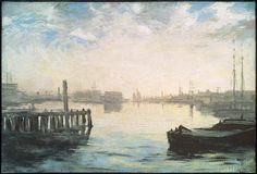 """""""Gloucester Harbor"""" (about 1877) is one of the most modern works by American painter William Morris Hunt who completed the #seascape in just one afternoon. #HeartArt by mfaboston"""
