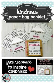 FREE Resource! This Kindness Paper Bag booklet was created to inspire a little kindness in our kiddos. Students will create the booklet from 2 paper lunch sacks and the contents of this resource. This would be a great activity to go with a book about kindness- such as Kindness is Cooler, Mrs. Ruler or Somebody Loves You, Mr. Hatch.
