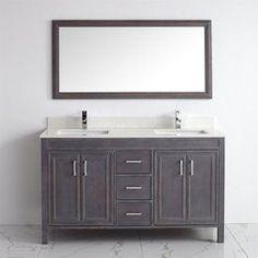 Spa Bathe Cora French Gray 60-In Undermount Double Sink Bathroom Vanit