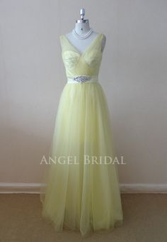 2013 New Arrival VNeck  Daffodil Tulle  Long by AngelBridal, $120.00
