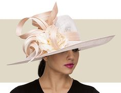 SIDEBRIM HAT - Be Prepared To Feel Like Royalty, As You Will Be The Envy Of ALL Women In This Couture Philip Treacy Hat. Rest Assured, The Quality Of A Philip Treacy Hat Is Like No Other. His Hats Are The Equivelant of Fine Artwork And Are To Be Kept As A Timeless Treasure And Enjoyed For Many Years To Come.    Ladies Powder Pink Gentle Sweeping Sidebrim Hat In Sinamay With Ornate Buntal Loops And Rosette.