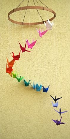 Origami Mobile Made with Paper Crane in Rainbow Colors