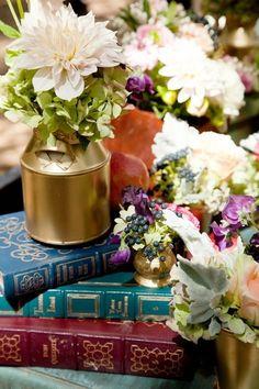 unique ceremony decor ideas- love the vintage books and flowers