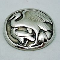 "GEORG JENSEN BROOCH # 167, STERLING SILVER. DESIGNED BY HUGO LIISBERG   Condition: fine vintage, preowned Year: after 1945  Size: 2"" in diam."