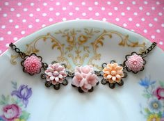 Flower Necklace Pink Choker Necklace Bridesmaid by elinacreations,