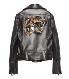 GUCCI Black 'Tiger' Leather Jacket - Moto styled featuring a rear embellished tiger graphic.