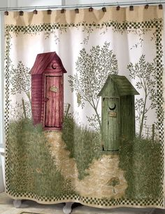 Outhouses Shower Curtain - Outhouse Bathroom Decor By Linda Spivey Outhouse Bathroom Decor, Bathroom Niche, Bathroom Decor Sets, Bathroom Ideas, Bathroom Signs, Bath Ideas, Shower Ideas, Bathroom Window Curtains, Modern Shower Curtains
