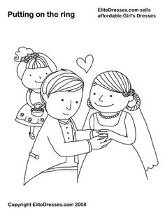 Putting on the Ring - Wedding Coloring Page, Picture, Colour