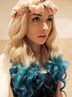 TURQUOISE Teal Human Hair Extensions 14 Inch Clip In Hair Rainbow Color Ombre Dip Dye Tie Dye  READY to SEND. $18.00, via Etsy.