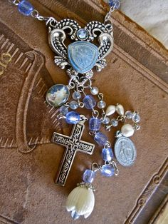 My Blue Heaven Vintage Assemblage Rosary Necklace by MorticiaSnow, $68.00