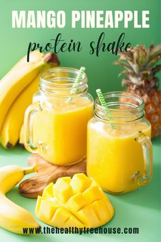 This tropical smoothie recipe is one perfect way to flavor up your protein shakes. The use of unsweetened almond milk not only makes this recipe dairy and gluten-free, but it also lowers down the sugar level of this beverage. But don't worry, the natural sweetness from mangoes and pineapples covers it all! #proteinshake #mangosmoothie #pineapplesmoothie #vanillacupcake #sugarfree #smoothierecipe