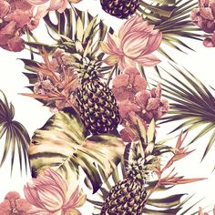 Watercolor flowers, palm leaves, exotic jungle leaves, pink lotus, orchid, pineapples. Beautiful seamless floral patterns, wallpapers.
