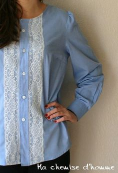 Recyled man's shirt blue blouse - old lace