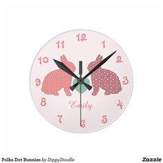Polka Dot Bunnies Round Clock
