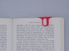 Bookmark Monogram. Initial / Letter U in Red Strong & Flexible Polished