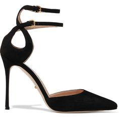 Sergio Rossi Cutout suede pumps ($423) ❤ liked on Polyvore featuring shoes, pumps, heels, sapatos, black, suede pointed toe pumps, black suede pumps, black shoes, pointed-toe pumps and pointed toe high heel pumps