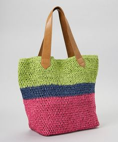 Another great find on #zulily! Green & Fuchsia Stripe Straw Tote by Straw Studios #zulilyfinds