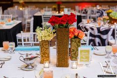 Patterned vase trio (Flowers by Lee Forrest Design, photo by: Victoria Angela Photography)