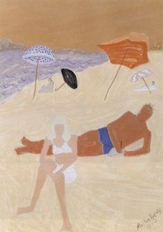 "blueberrymodern: ""Milton Avery- Loungers on Pink Beach, 1944 """