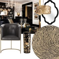 Love the black && gold def would add a splash of turquoise & coral (bedroom)